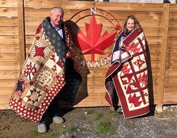 Recipients of Quilt of Valour, WO(Ret'd) Keith Cogswell and Sgt Tonia Cogswell