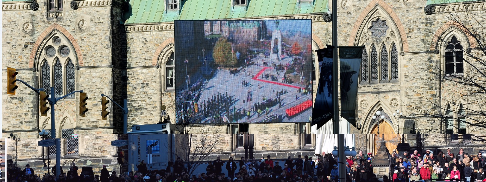 Large Viewing Screens for Remembrance Day Ceremony